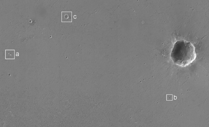 Click here for annotated version of PIA09364 Mars Exploration Rover Landing Site at Meridiani Planum