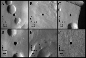 Click here for annotated version of PIA09929 Seven Possible Cave Skylights on Mars