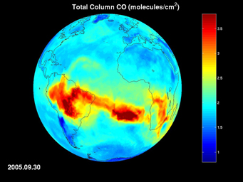 Click here for movie of PIA09936 AIRS Map of Carbon Monoxide Draped on Globe