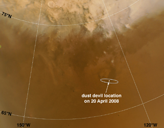 Click here for annotated version of PIA10634 Phoenix Landing Area Viewed by Mars Color Imager