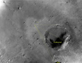 Annotated image of Endeavour Crater in Context