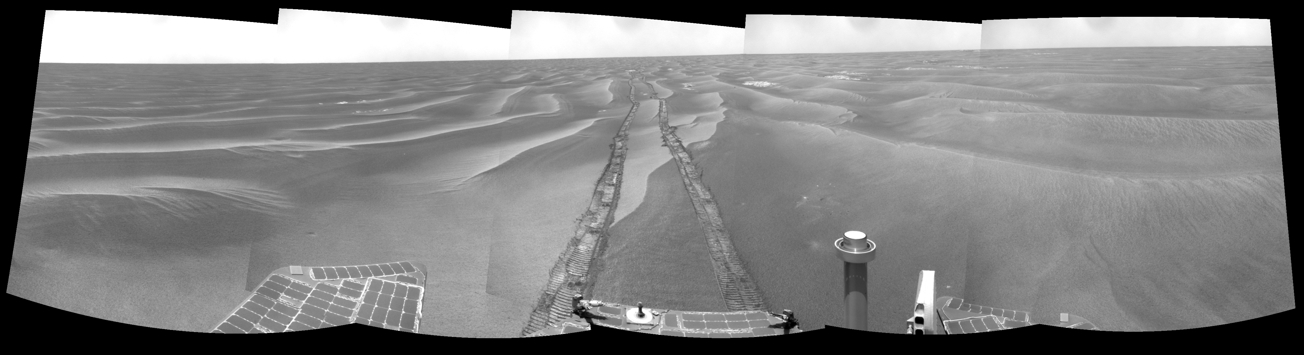 180-degree view of the Mars rover Opportunity's surroundings on Mars in February 2009