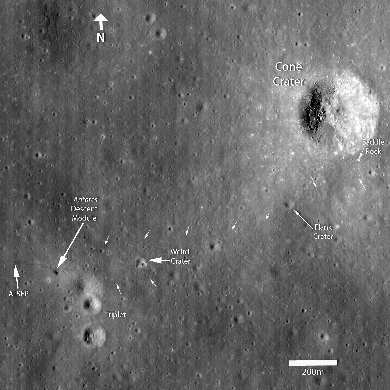 фотографии с лунной орбиты мест высадки