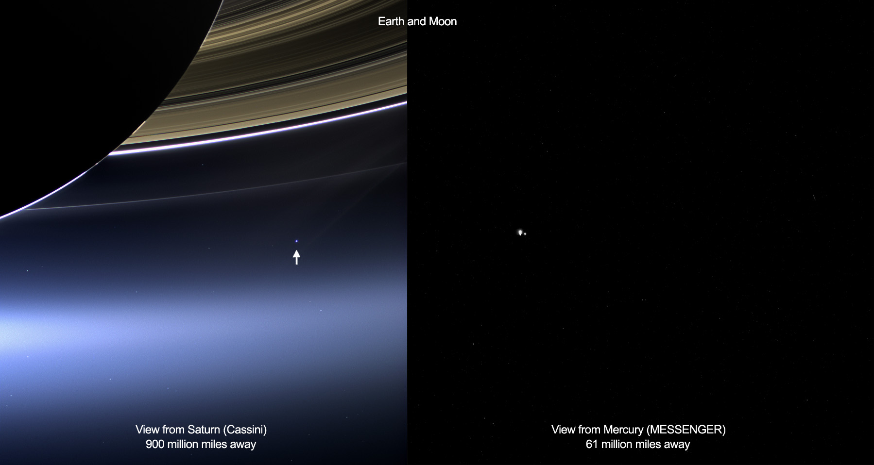 Planet earth photographed from space. Two Views of Home: These images show views of Earth and the moon from NASA's Cassini (left) and MESSENGER spacecraft (right) from July 19, 2013. (Credit: NASA/JPL-Caltech/Space Science Institute and NASA/Johns Hopkins University Applied Physics Laboratory/Carnegie Institution of Washington)