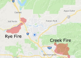 Creek and Rye Fires, southern California for PIA22149