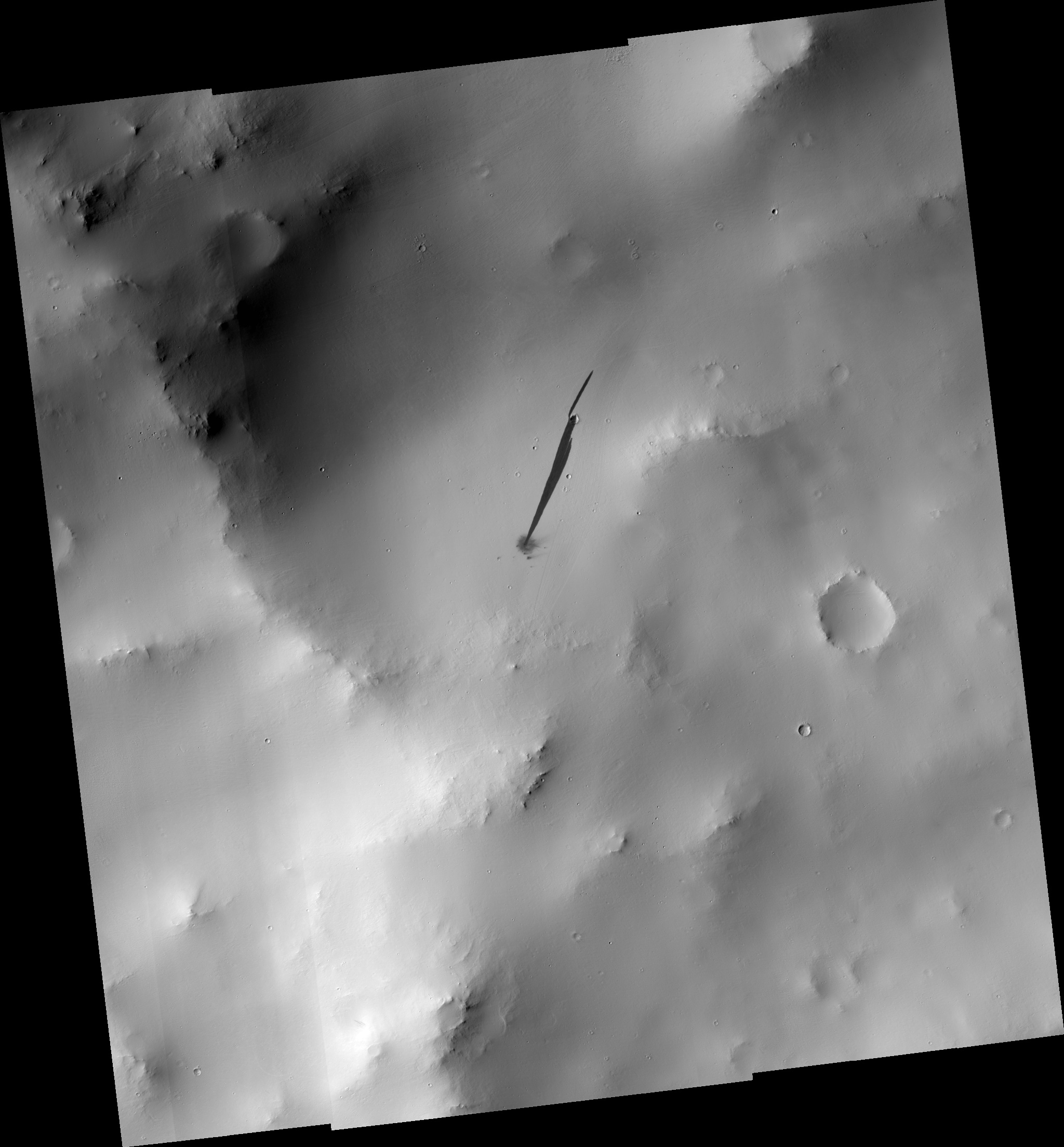 Impact crater and slope streak on Mars