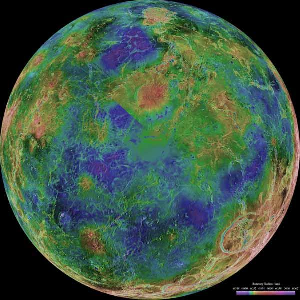 This hemispheric view of Venus, as revealed by more than a decade of radar investigations culminating in the 1990-1994 Magellan mission, is centered on the North Pole. NASA's Magellan spacecraft imaged more than 98% of Venus.