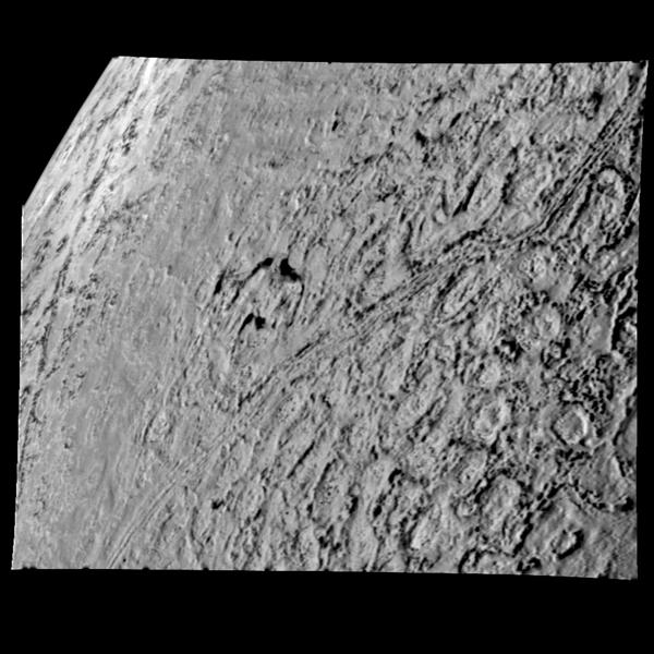 This is one of the most detailed views of the surface of Triton taken by NASA's Voyager 2 on its flyby of the large satellite of Neptune early in the morning of Aug. 25, 1989. The picture was stored on the tape recorder and relayed to Earth later.