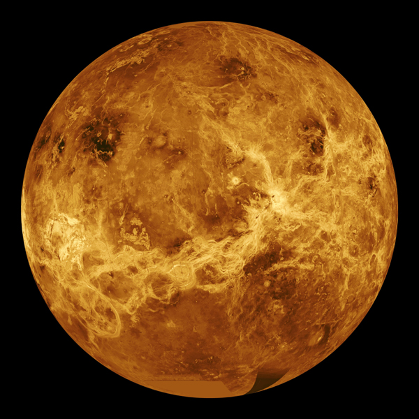 This global view from NASA's Magellan spacecraft is of the surface of Venus is centered at 180 degrees east longitude.