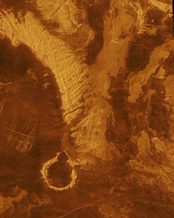 This false color image from NASA's Magellan spacecraft shows a portion of Leda Planitia (plains) in the northern hemisphere of Venus, centered at 41 degrees north latitude, 52 degrees east longitude.