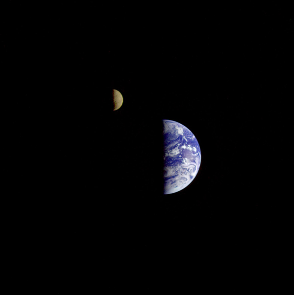 Earth Moon Conjuntion image created during Galileo's second flyby