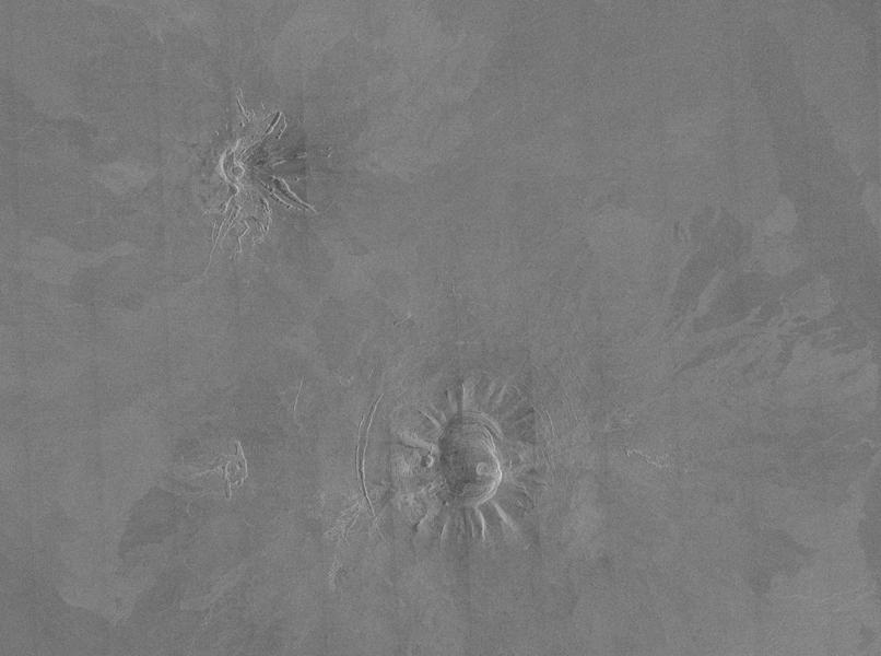 Two unusual volcanic domes are shown in this full-resolution mosaic obtained by NASA's Magellan spacecraft.