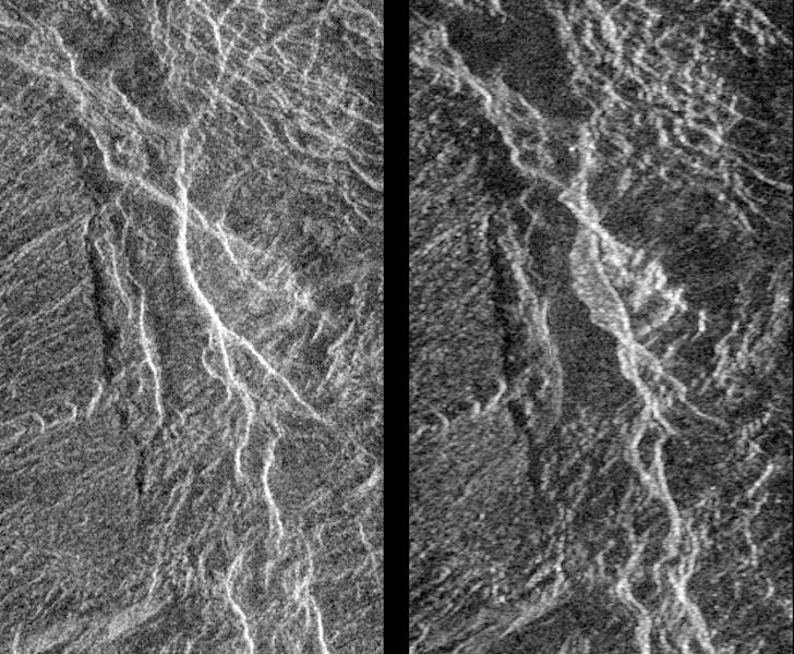 Landslides on Venus! The image on the left was taken in late November of 1990 during Magellan's first trip around Venus. The image on the right was taken July 23, as the Magellan spacecraft passed over the region for the second time.