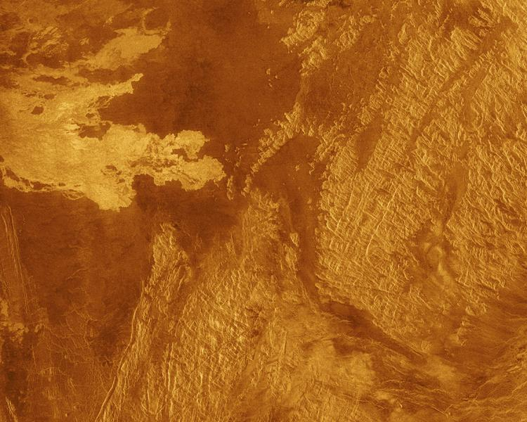This false color Magellan image shows a portion of Eistla Regio (region) in the northern hemisphere of Venus, centered at 1 degrees south latitude, 37 degrees east longitude.