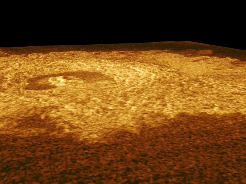 This full resolution radar mosaic from NASA's Magellan spacecraftshows an oblique view of the impact crater Riley, named for Margaretta Riley, a 19th Century botanist.