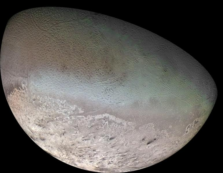 This global color mosaic of Triton, taken in 1989 by NASA's Voyager 2 shows Triton, the largest satellite of Neptune. Triton has the coldest surface known anywhere in the solar system; it is so cold that most of Triton's nitrogen is condensed as frost.