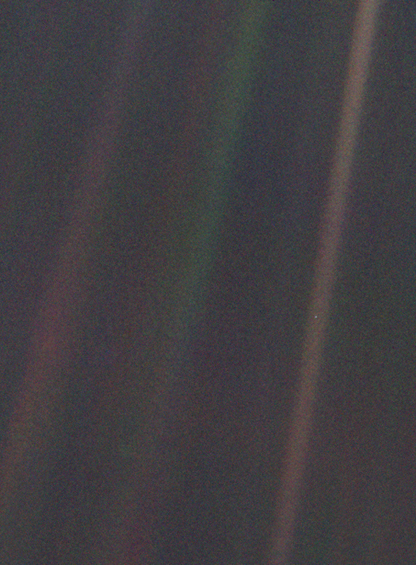 This narrow-angle color image of the Earth, dubbed 'Pale Blue Dot', is a part of the first ever 'portrait' of the solar system taken by NASA's Voyager 1.