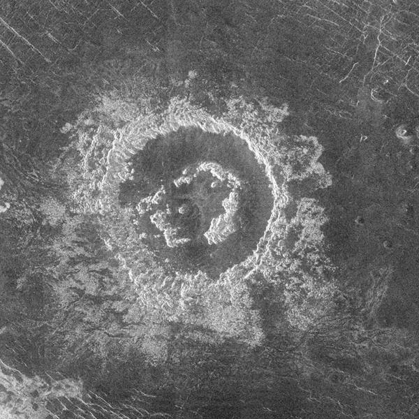 During orbits 404 through 414 on 19-20 September 1990, NASA's Magellan spacecraft imaged a peak-ring crater.