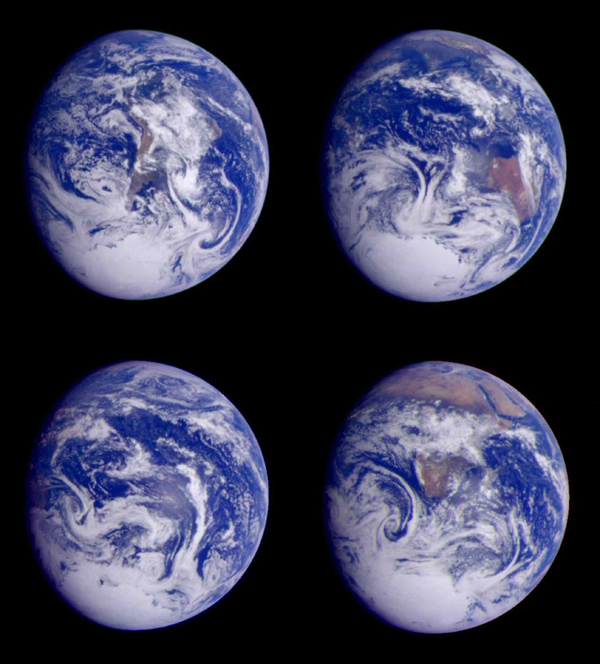 Global images of Earth from NASA's Galileo orbiter on December 11, 1999. In each frame, the continent of Antarctica is visible at the bottom of the globe.