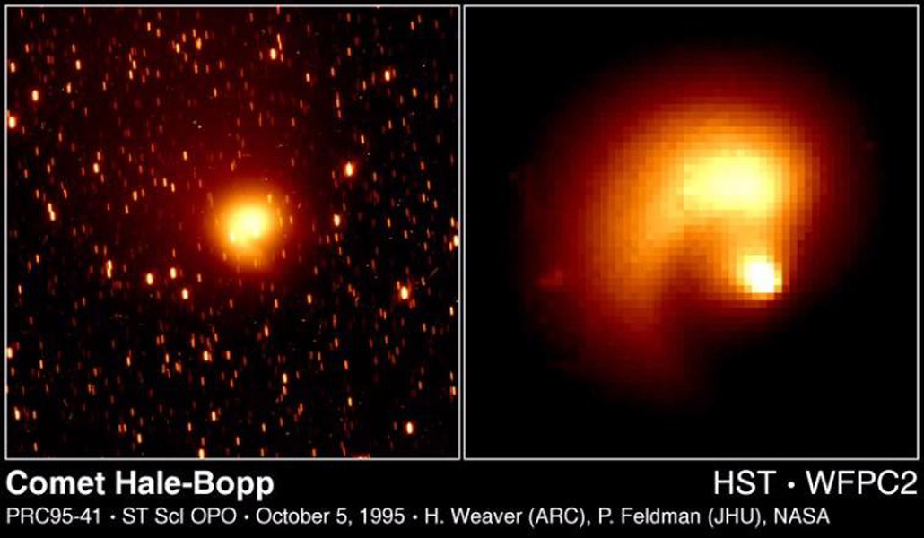 These NASA Hubble Space Telescope pictures of comet Hale-Bopp show a remarkable 'pinwheel' pattern and a blob of free-flying debris near the nucleus.
