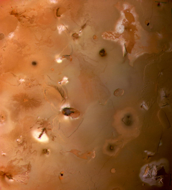 The South Polar region of Jupiter's moon Io, seen by NASA's Voyager 1 as it passed beneath in the early 1980s.