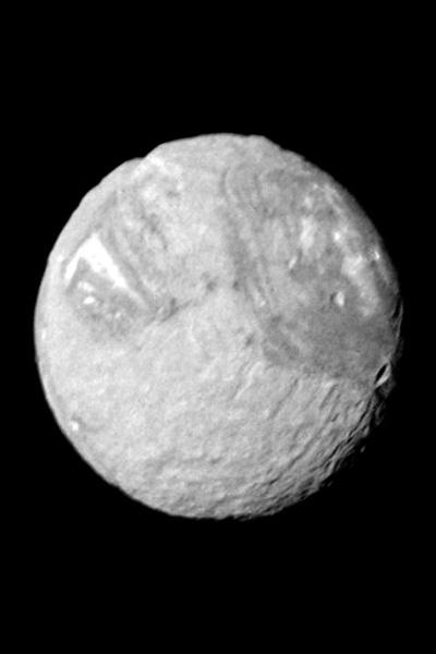One wide-angle and eight narrow-angle camera images of Miranda, taken by NASA's Voyager 2, were combined in this view. The controlled mosaic was transformed to an orthographic view centered on the south pole.