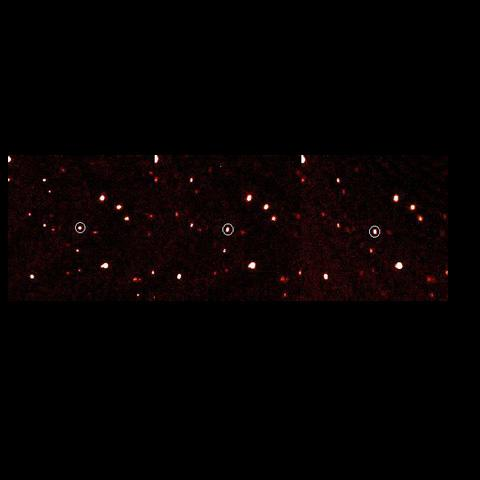These time-lapse images of a newfound dwarf planet in our solar system, formerly known as 2003 UB313 (or Xena), and now called Eris, were taken using the Samuel Oschin Telescope at the Palomar Observatory.