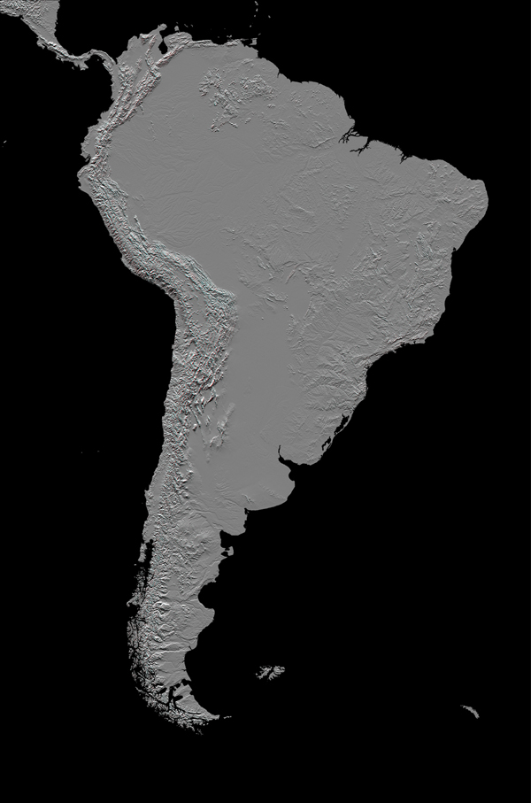 This anaglyph, from NASA's Shuttle Radar Topography Mission, in South America is dominated by the Andes Mountains, which extend all along the Pacific Coast. 3D glasses are necessary to view this image.