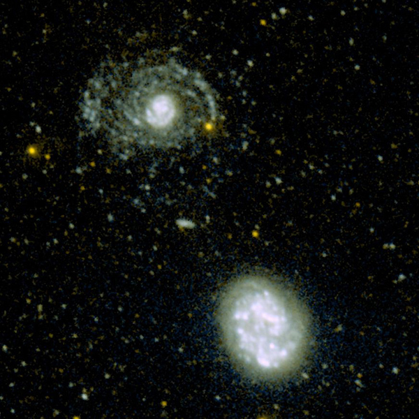 This image shows the hidden spiral arms that were discovered around the galaxy called NGC 4625 (top) by the ultraviolet eyes of NASA's Galaxy Evolution Explorer. An armless companion galaxy called NGC 4618 is pictured below.