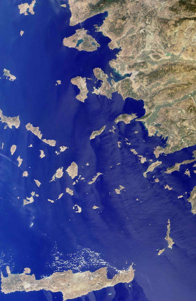 The Greek islands of the Aegean Sea, scattered across 800 kilometers from north to south and between Greece and western Turkey, are uniquely situated at the intersection of Europe, Asia and Africa. This image from NASA's Terra satellite was acquired on Se