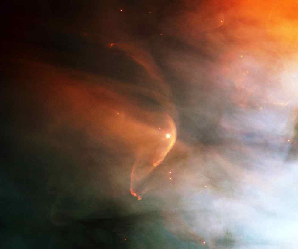 Astronomers using NASA's Hubble Space Telescope have found a bow shock around a very young star in the nearby Orion nebula, an intense star-forming region of gas and dust.