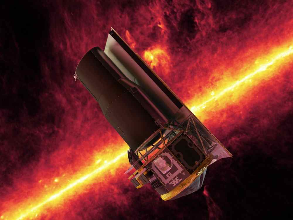 NASA's Spitzer Space Telescope whizzes in front of a brilliant, infrared view of the Milky Way galaxy's plane in this artistic depiction.