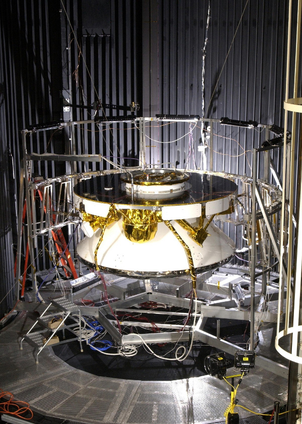 NASA's Rover 1 in the cruise configuration in Jet Propulsion Laboratory's 25-ft Solar Thermal Vacuum Chamber where it underwent environmental testing.