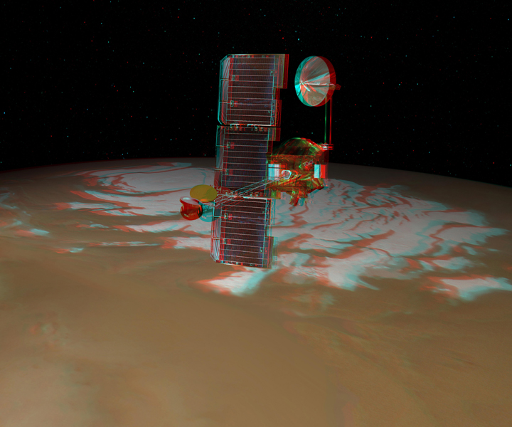 NASA's Mars Odyssey spacecraft passes above Mars' south pole in this artist's concept illustration. 3D glasses are necessary to view this image.