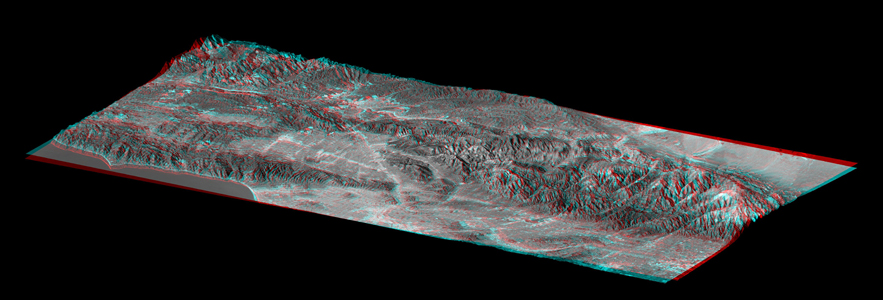 This elevation anaglyph of Los Angeles and adjacent mountainous terrain was created by NASA's Shuttle Radar Topography Mission. 3D glasses are necessary to view this image.