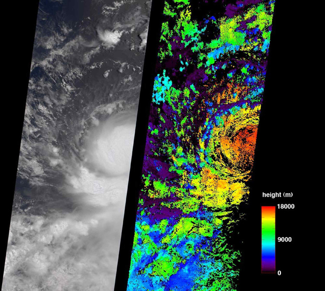 These July 11, 2006 images from NASA's Terra Satellite show then Tropical Storm Bud as it was intensifying into a hurricane, which it became later that day.
