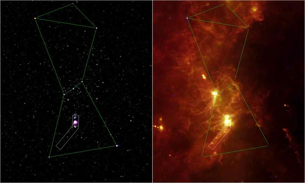 This image composite outlines the region near Orion's sword that was surveyed by NASA's Spitzer Space Telescope (white box). The Orion nebula, our closest massive star-making factory, is the brightest spot near the hunter's sword.