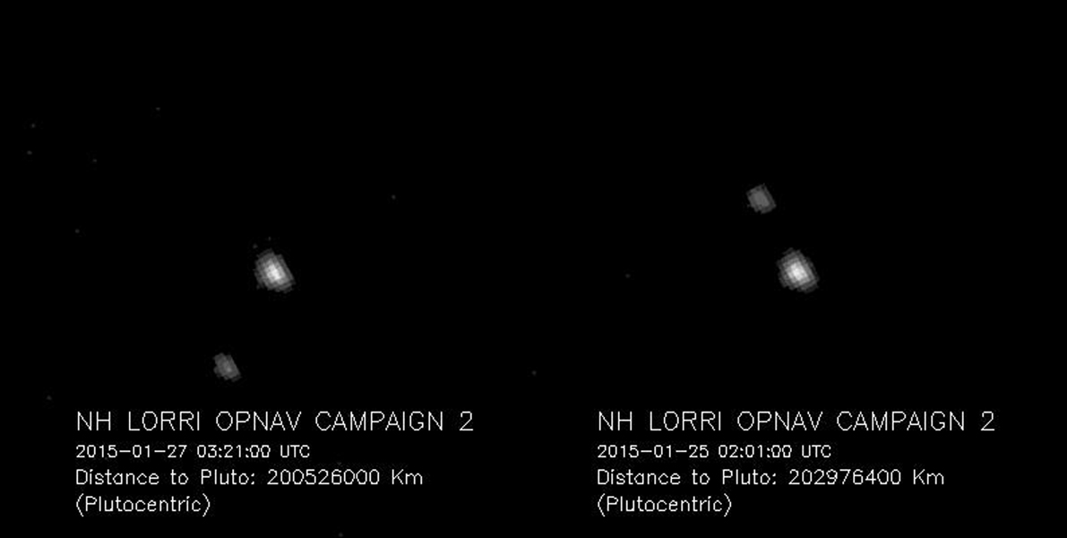 Pluto and Charon, the largest of Pluto's five known moons, seen Jan. 25 and 27, 2015, through the telescopic Long-Range Reconnaissance Imager (LORRI) on NASA's New Horizons spacecraft.