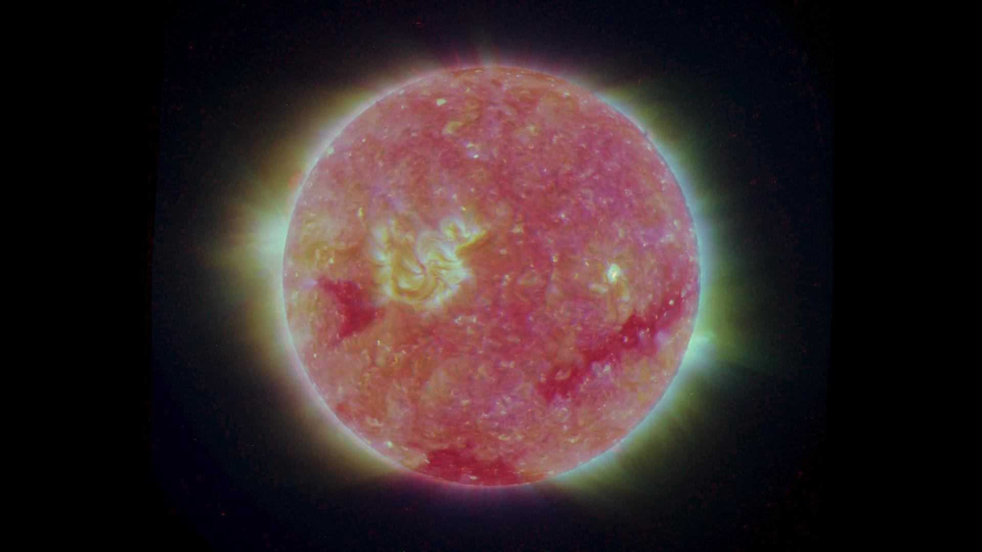 The structure of the Sun's corona shows well in this image from NASA's Solar TErrestrial RElations Observatory (STEREO).