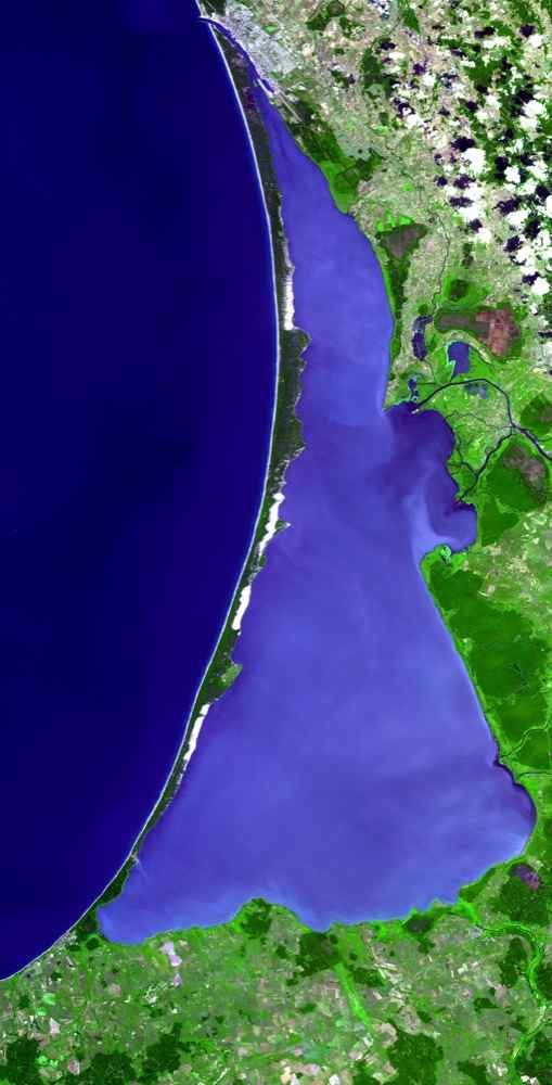 The Curonian Spit in Lithuania and the Russian Federation was inscribed as a UNESCO World Heritage Site in 2000. This image is from NASA's Terra satellite.