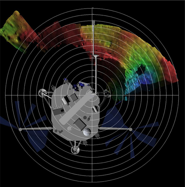 This is a terrain model of Phoenix's Robotic Arm workspace. It has been color coded by depth with a lander model for context. The model has been derived using images from the depth perception feature from Phoenix's Surface Stereo Imager (SSI).