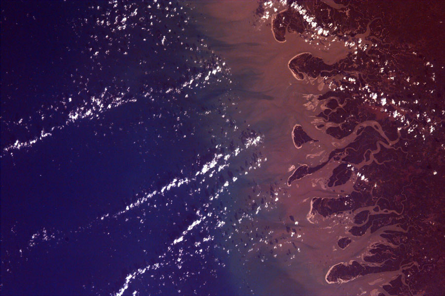 This is an image from NASA's EarthKAM of the Rio Gurupi in the Brazilian state of Maranhao and its delta. It is the only open sea delta in the Americas and has more than 70 islands of various sizes.