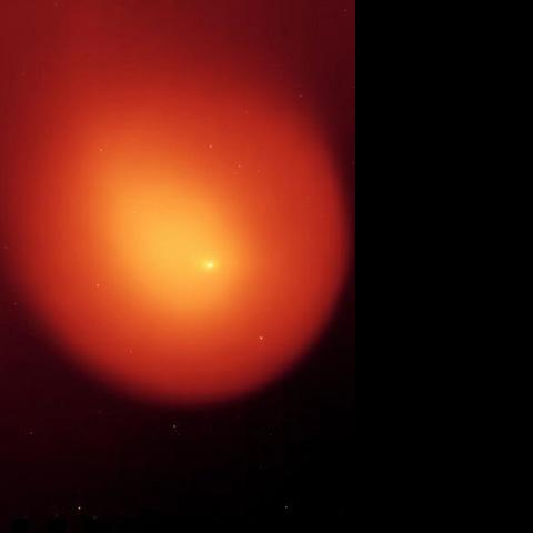 NASA's Spitzer Space Telescope captured this picture of comet Holmes in March 2008, five months after the comet suddenly erupted and brightened a millionfold overnight.