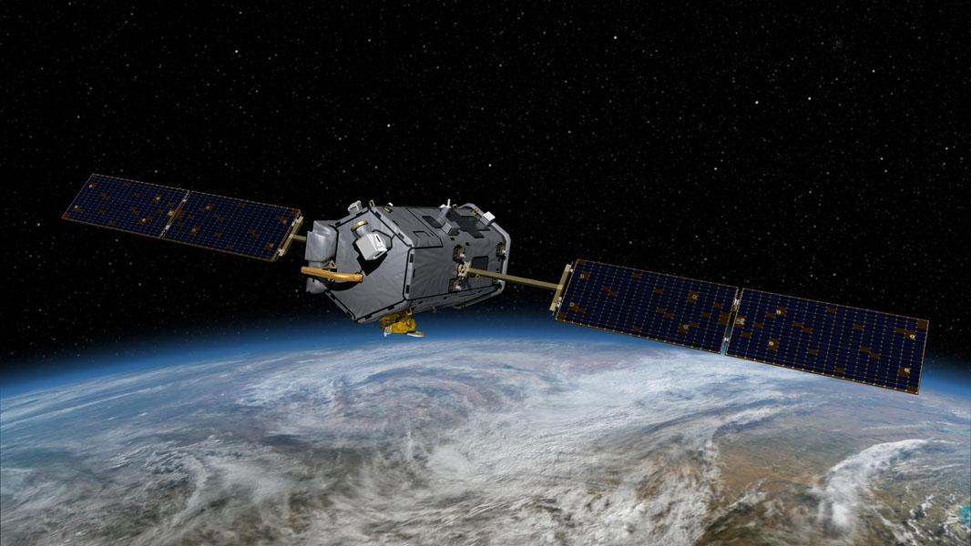 This image is an artist's concept of the Orbiting Carbon Observatory