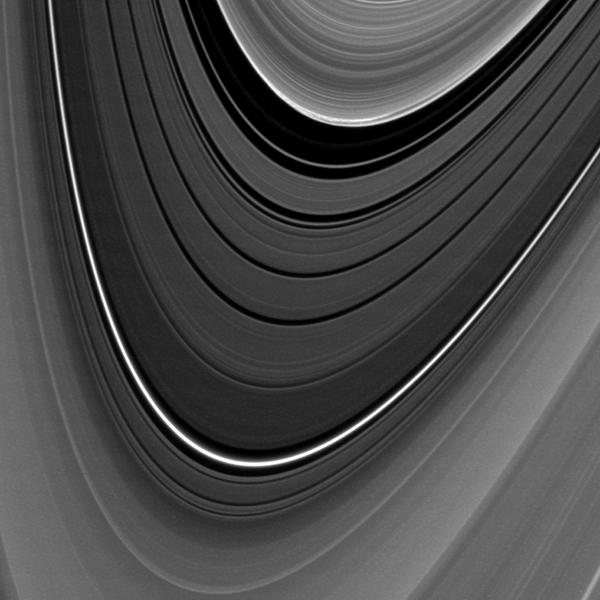 The outer edge of Saturn's B ring exhibits an unexpected feature in this image captured by NASA's Cassini spacecraft. The image was obtained  when the sun was over the planet's equator and lit the rings exactly exactly edge on.