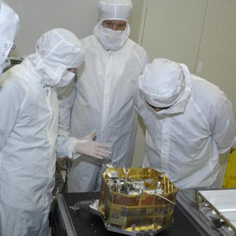 The Moon Mineralogy Mapper imaging spectrometer, an instrument on India's Chandrayaan-1, during development at NASA's Jet Propulsion Laboratory.