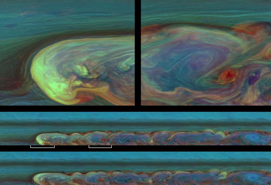Falsk- farev billeder af stormen på Saturn