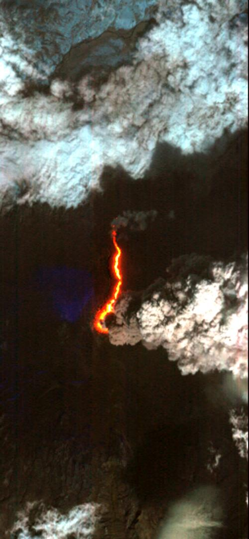 NASA's Earth Observing-1 (EO-1) imaged Eyjafjallajökull and identified the extent of a lava flow extending northwards from the main eruption vent. This lava flow is slowly carving its way north through the ice cap.