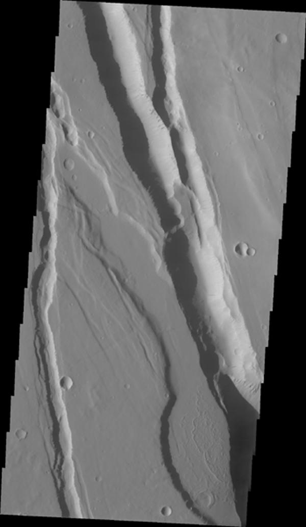 This fracture system, located southwest of Elysium Mons, is called Elysium Chasma. NASA's Mars Odyssey captured this image on Sept. 15, 2010.