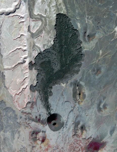 SP Crater, a volcanic cone and flow in Arizona, is visible in this image obtained by the Advanced Spaceborne Thermal Emission and Reflection Radiometer (ASTER) instrument on NASA's Terra spacecraft.